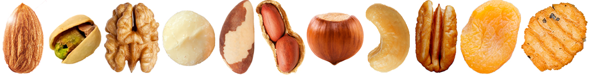 Row with different kind of nuts